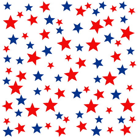 Patriotic seamless pattern with red, white, blue stars. . 4th of July. Wrapping paper.