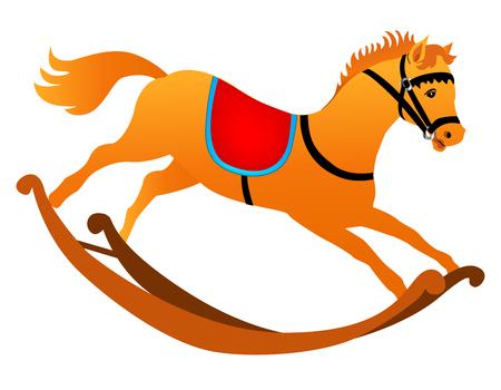 nag: Toy horse isolated on white Illustration
