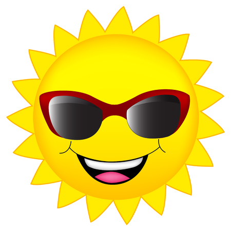 sun clipart: happy sun wearing sunglasses clipart isolated on white