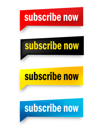 subscribe now: Subscribe now web button collection isolated on white