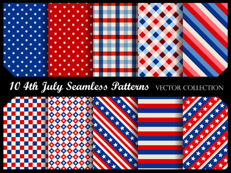 Stars and stripes 4 th of july seamless pattern collection