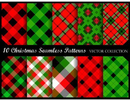 christmas plaid: Plaid pattern collection  simple plaid pattern swatches for christmas decorations