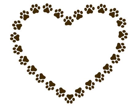 Heart shaped paw print frame  border for animal lovers Çizim
