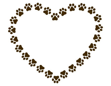 Heart shaped paw print frame  border for animal lovers Illustration