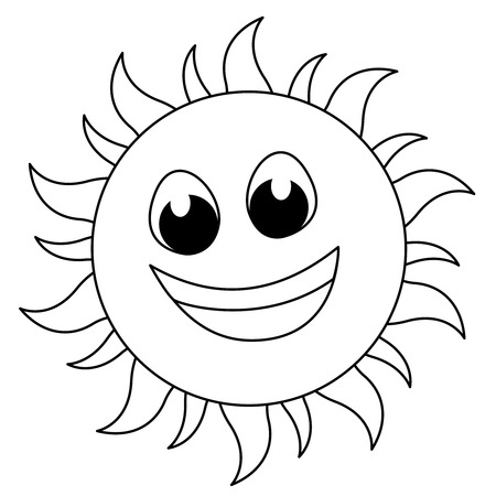 Sun sketch  line art for kids coloring books