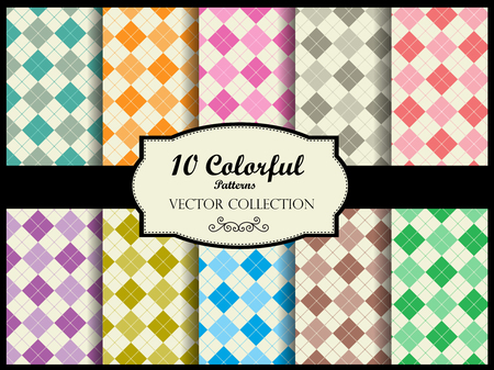 gingham: Gingham pattern collection  simple gingham pattern swatches in many colors Illustration