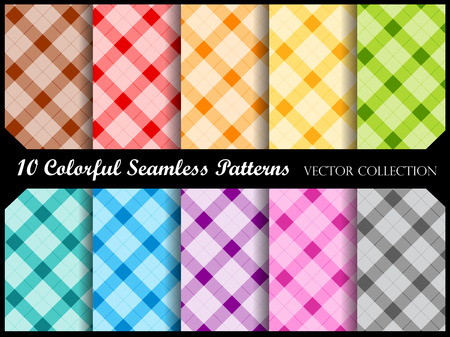 Plaid pattern collection  simple plaid pattern swatches in many colors