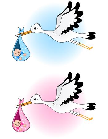 stork flying with bundle: Stork carrying bundle Illustration