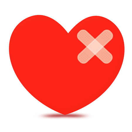 heartbroken: A wounded heart with plasters. hurt heartbroken