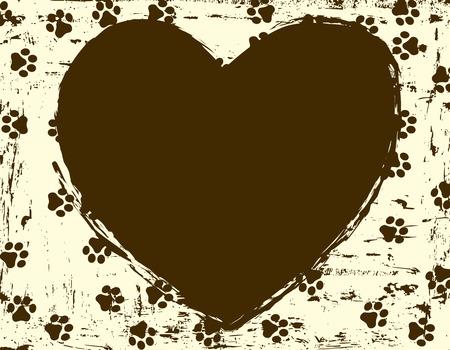 animal frame: Heart shaped paw print frame  border for animal lovers Illustration