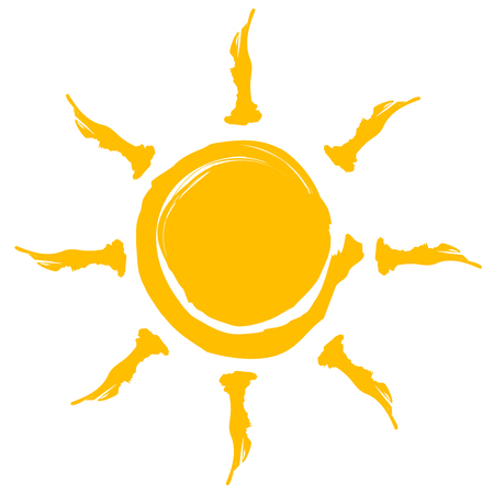 Yellow Sun burst icon isolated on background. Modern simple flat sign. Business, internet concept. Vector summer symbol for website design, web button, mobile app. Vector illustration