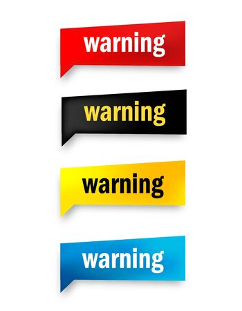 dangerously: Warning 3d realistic paper speech bubble  web button collection isolated on white Illustration