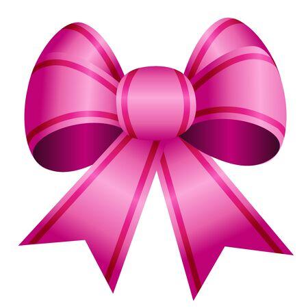 Cute satin pink ribbon bow Illustration