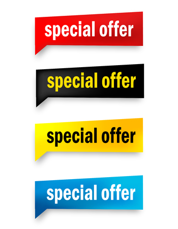 special offer: Special offer 3d realistic paper speech bubble  web button collection isolated on white Illustration