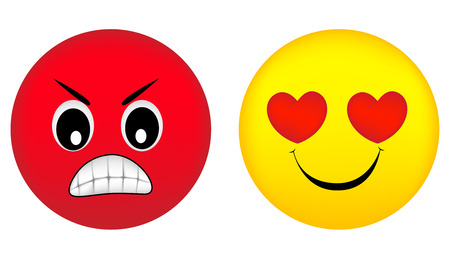Emotional face icons angry and love face