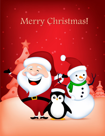 wishing card: cute santa claus snowman and penguin wishing a merry christmas greeting card