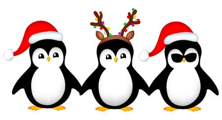 Penguins wering santa het, reindeer hat christmas greeting card design