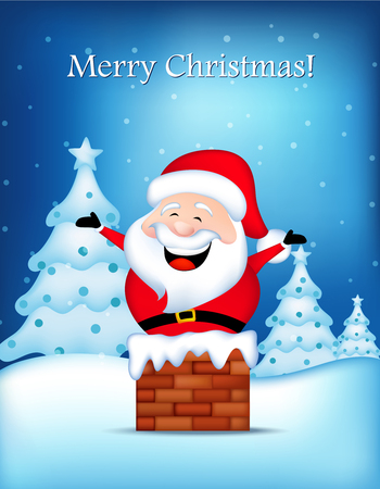 Merry christmas greeting card with cristmas trees and happy santa claus coming out from a chimney on falling snow background