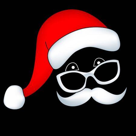 Santa face with mustache sunglass and santa hat, I am watching you santa Illustration