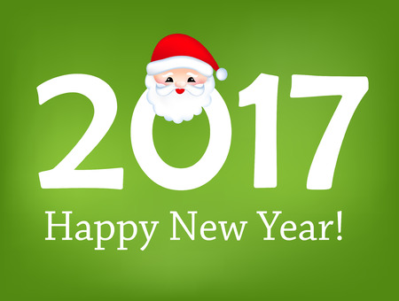 Happy New Year 2016 hand-lettering text card on green background. Handmade greeting card