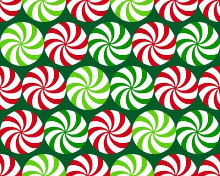 Red and green peppermint candy on dsrk green background