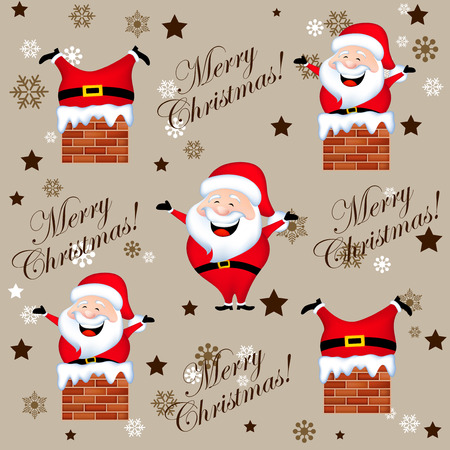 coming out: Santa claus stck in a chimney and coming out from a chimney design seamless pattern