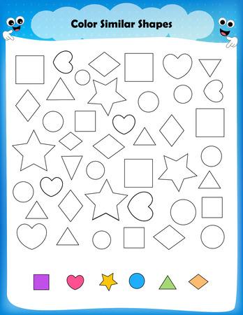 similar: worksheet - color similar shapes worksheet for preschool kids