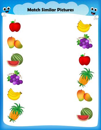 banana sheet: Preschool worksheet for kids. Matching similar fruits