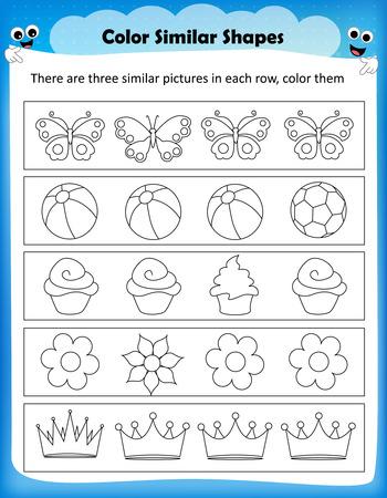 worksheet: worksheet - color similar shapes kids worksheet for preschool kids Illustration
