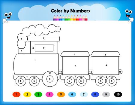 worksheet: worksheet - color by numbers train worksheet for preschool kids