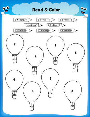 according: worksheet - color the balloons according to the numbers worksheet for preschool kids