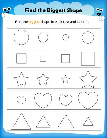 worksheet: worksheet - color the biggest shape worksheet for preschool kids