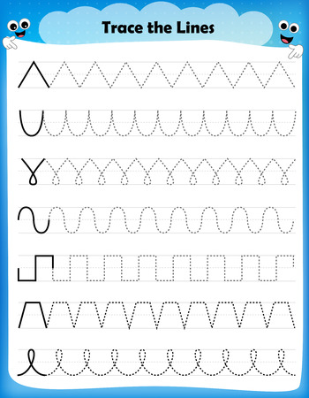 preschool child: Preschool worksheet trace the shapes and color. Basic writing and coloring practice