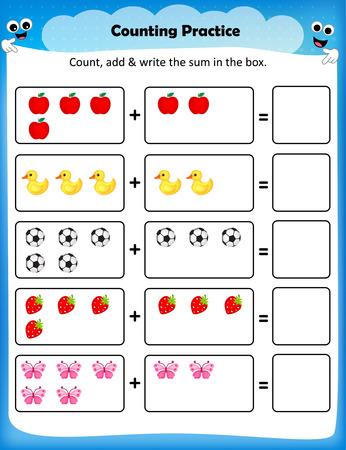 matematica: la práctica Niños hoja de conteo - hoja de trabajo de matemáticas para los niños en edad preescolar Vectores