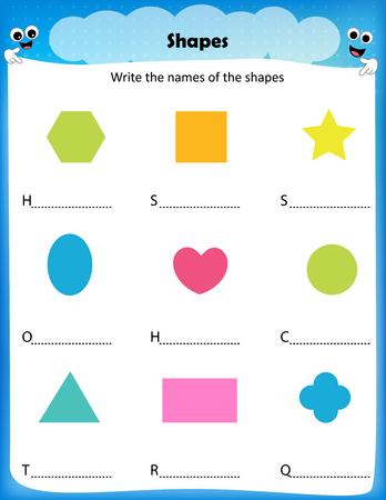 forme: feuille de calcul - écrire les noms des formes, feuille de calcul pour les enfants d'âge préscolaire