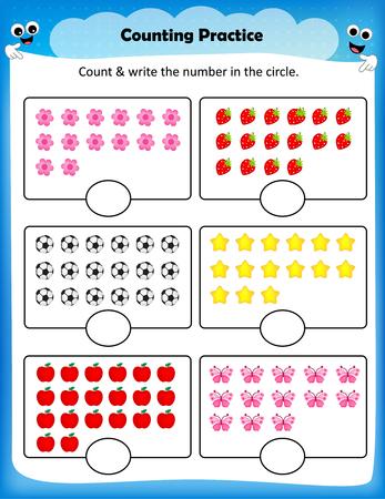 worksheet: Kids worksheet counting practice , Maths worksheet for preschool kids Illustration