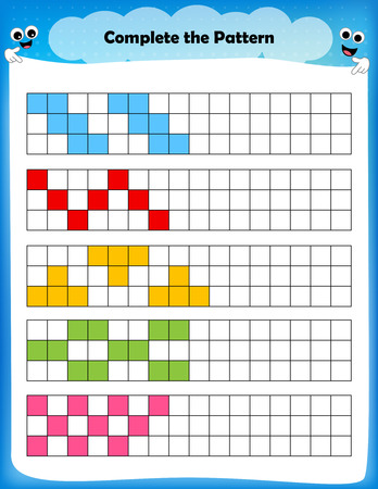 worksheet - complete the pattern worksheet for preschool kids Illusztráció