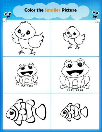 biggest animal: Preschool worksheet find the smaller picture and color Illustration