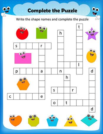 Worksheet Complete The Crossword Puzzle 2d Shapes Worksheet