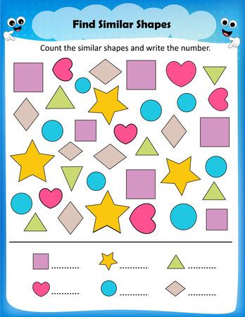 forme: feuille - compter formes similaires feuille de calcul pour les enfants d'âge préscolaire Illustration
