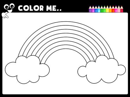 Werkblad - kleuren pagina regenboog werkblad voor kleuters
