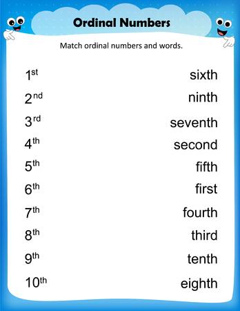 Arkusz - dopasować numery porządkowe arkusz dla dzieci w wieku przedszkolnym