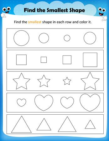 worksheet: worksheet - color the smallest shape worksheet for preschool kids Illustration
