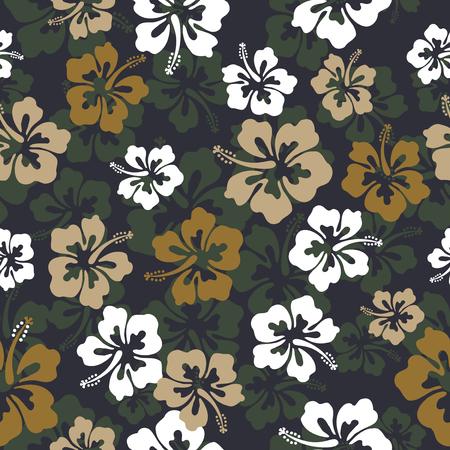 motif répétitif transparente avec des fleurs d & # 39 ; hibiscus Vecteurs