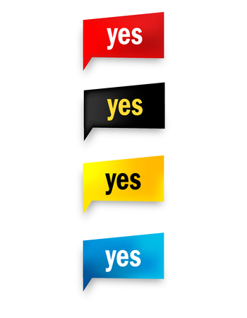 proceed: yes realistic speech bubble  web button collection