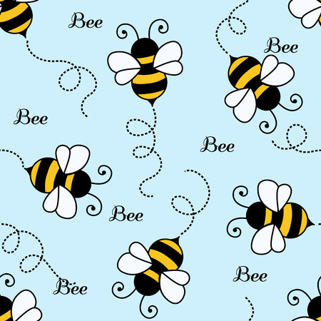 Bee pattern background . seamless pattern Illustration