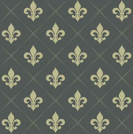 fleurdelis: Vector illustration seamless background with lily (fleur de lis) for print fabric or poster
