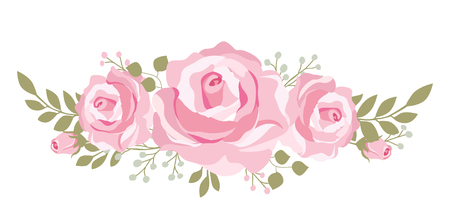 Beautiful pink roses boquet for mothers day cards, wedding or bridal shower invitations