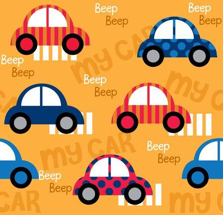 패브릭 패턴 디자인에 대 한 다채로운 장난감 자동차 원활한 패턴