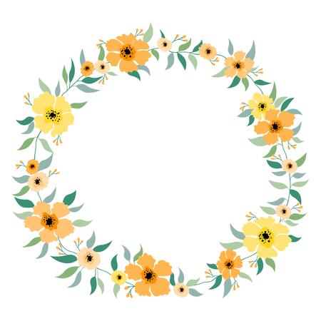 벡터 꽃 세트 아름 다운 화 환 격리 된 노란색 주황색 나뭇잎과 꽃 디자인 초대 또는 인사말 카드에 대 한 우아한 꽃 컬렉션 일러스트